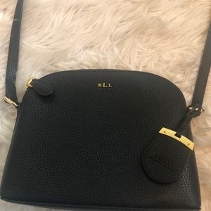Ralph Lauren black leather crossover purse